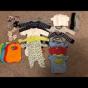 Baby boy clothes & accessories bundle 31 pcs 0-6m